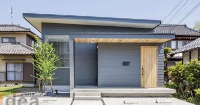 บ้านชั้นเดียว สีน้ำเงินเทา modern house
