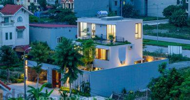 แบบบ้าน3ชั้น มีดาดฟ้า Stepping Green