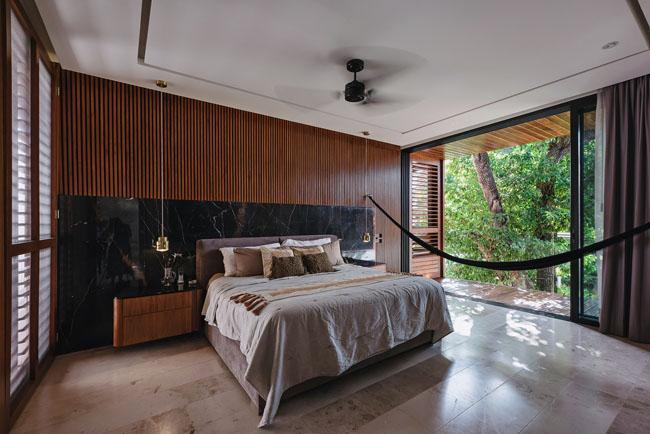 ห้องนอนบ้านสวยในสวน